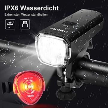 OMERIL LED Fahrradlicht Set Fahrradbeleuchtung STVZO Zugelassen Fahrradlampe USB Aufladbar und Wasserdicht Fahrrad Licht mit Frontlicht und Rücklicht (Rotlicht). Sturdy & Duragable (1 modi/ABS) - 5