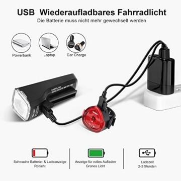 OMERIL LED Fahrradlicht Set Fahrradbeleuchtung STVZO Zugelassen Fahrradlampe USB Aufladbar und Wasserdicht Fahrrad Licht mit Frontlicht und Rücklicht (Rotlicht). Sturdy & Duragable (1 modi/ABS) - 6