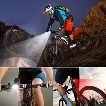 OMERIL LED Fahrradlicht Set Fahrradbeleuchtung STVZO Zugelassen Fahrradlampe USB Aufladbar und Wasserdicht Fahrrad Licht mit Frontlicht und Rücklicht (Rotlicht). Sturdy & Duragable (1 modi/ABS) - 7