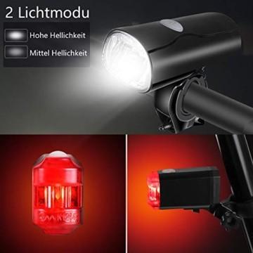 Opard Fahrradlicht - Fahrradlicht Set, Fahrradbeleuchtung LED, Fahrradlampe, USB Aufladbar, StVZO Zulassung Wasserdicht, 2 Licht-Modi Frontlicht und Rücklicht Set - 3