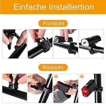 Opard Fahrradlicht - Fahrradlicht Set, Fahrradbeleuchtung LED, Fahrradlampe, USB Aufladbar, StVZO Zulassung Wasserdicht, 2 Licht-Modi Frontlicht und Rücklicht Set - 6