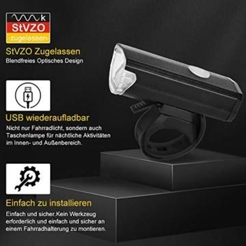 Opard Fahrradlicht, Fahrradlicht StVZO Zugelassen, LED Fahrradbeleuchtung USB Aufladbar, Fahrradlampe Wasserdicht,2 Licht-Modi Frontlicht/Rücklicht (Frontlicht) - 2