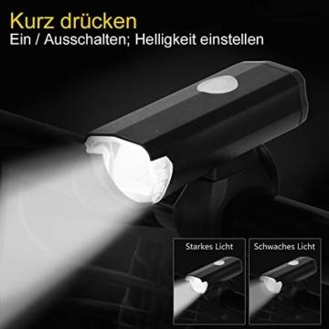 Opard Fahrradlicht, Fahrradlicht StVZO Zugelassen, LED Fahrradbeleuchtung USB Aufladbar, Fahrradlampe Wasserdicht,2 Licht-Modi Frontlicht/Rücklicht (Frontlicht) - 4
