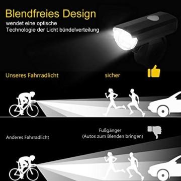 Opard Fahrradlicht, Fahrradlicht StVZO Zugelassen, LED Fahrradbeleuchtung USB Aufladbar, Fahrradlampe Wasserdicht,2 Licht-Modi Frontlicht/Rücklicht (Frontlicht) - 5