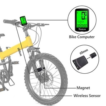 Osaloe Fahrradcomputer Kabellos, Neues USB-Laden Fahrradcomputer mit 21 Funktion LCD Hintergrundbeleuchtung 5 Sprachoptionen IPX6 Wasserdicht Fahrradtacho - 2