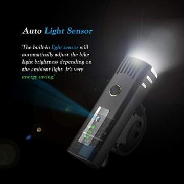 Pezimu Fahrradlicht LED Set - USB Wiederaufladbare Fahrradlichter Fahrradlampe mit Automatischem Lichtsensor - StVZO Zugelassen Wasserdicht Frontlicht Rücklicht Fahrradbeleuchtung - 2