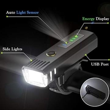 Pezimu Fahrradlicht LED Set - USB Wiederaufladbare Fahrradlichter Fahrradlampe mit Automatischem Lichtsensor - StVZO Zugelassen Wasserdicht Frontlicht Rücklicht Fahrradbeleuchtung - 3