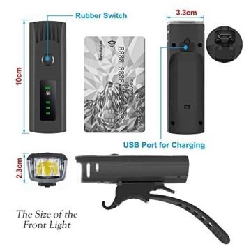 Pezimu Fahrradlicht LED Set - USB Wiederaufladbare Fahrradlichter Fahrradlampe mit Automatischem Lichtsensor - StVZO Zugelassen Wasserdicht Frontlicht Rücklicht Fahrradbeleuchtung - 4