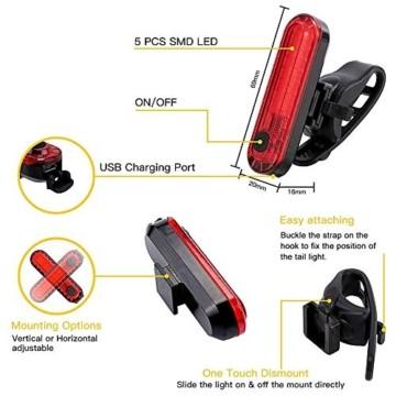 Pezimu Fahrradlicht LED Set - USB Wiederaufladbare Fahrradlichter Fahrradlampe mit Automatischem Lichtsensor - StVZO Zugelassen Wasserdicht Frontlicht Rücklicht Fahrradbeleuchtung - 6