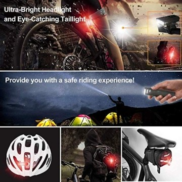 Pezimu Fahrradlicht LED Set - USB Wiederaufladbare Fahrradlichter Fahrradlampe mit Automatischem Lichtsensor - StVZO Zugelassen Wasserdicht Frontlicht Rücklicht Fahrradbeleuchtung - 7