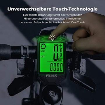 PRUNUS [Aktualisiert] Fahrrad Tachometer wasserdichte IP66 Fahrradcomputer Kabellos mit 20 Funktionen, Rad-Tacho mit Auto an/aus für Outdoor-und Indoor-Tracking - 3