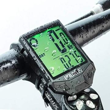 PRUNUS [Aktualisiert] Fahrrad Tachometer wasserdichte IP66 Fahrradcomputer Kabellos mit 20 Funktionen, Rad-Tacho mit Auto an/aus für Outdoor-und Indoor-Tracking - 1