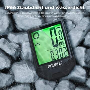 PRUNUS [Aktualisiert] Fahrrad Tachometer wasserdichte IP66 Fahrradcomputer Kabellos mit 20 Funktionen, Rad-Tacho mit Auto an/aus für Outdoor-und Indoor-Tracking - 5