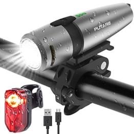 PUTARE 【2020 Neuestes Modell】 Fahrradlicht Set,StVZO USB Wiederaufladbare Fahrrad Licht,Mit 2 Leuchtmodi IPX5 Wasserdicht Fahrradbeleuchtung,Ultra-Bright Fahrradlampe mit Frontlicht und Rücklicht - 1