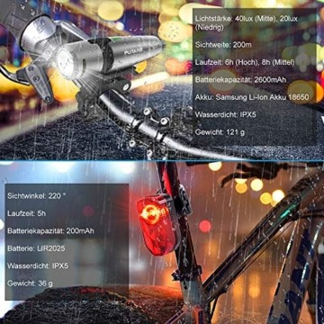 PUTARE 【2020 Neuestes Modell】 Fahrradlicht Set,StVZO USB Wiederaufladbare Fahrrad Licht,Mit 2 Leuchtmodi IPX5 Wasserdicht Fahrradbeleuchtung,Ultra-Bright Fahrradlampe mit Frontlicht und Rücklicht - 4