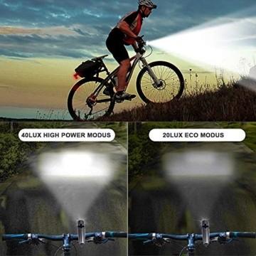 PUTARE 【2020 Neuestes Modell】 Fahrradlicht Set,StVZO USB Wiederaufladbare Fahrrad Licht,Mit 2 Leuchtmodi IPX5 Wasserdicht Fahrradbeleuchtung,Ultra-Bright Fahrradlampe mit Frontlicht und Rücklicht - 5