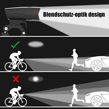 PUTARE LED Fahrradlicht Set,【Aktualisiert】 StVZO Zugelassen USB Wiederaufladbare Fahrradbeleuchtung Fahrradlampe Vorne/Rücklicht, IPX5 Wasserdicht Fahrradlichter mit 2 Licht-Modi - 2