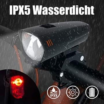 PUTARE LED Fahrradlicht Set,【Aktualisiert】 StVZO Zugelassen USB Wiederaufladbare Fahrradbeleuchtung Fahrradlampe Vorne/Rücklicht, IPX5 Wasserdicht Fahrradlichter mit 2 Licht-Modi - 4