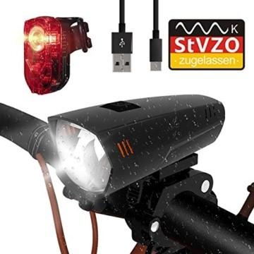 PUTARE LED Fahrradlicht Set,【Aktualisiert】 StVZO Zugelassen USB Wiederaufladbare Fahrradbeleuchtung Fahrradlampe Vorne/Rücklicht, IPX5 Wasserdicht Fahrradlichter mit 2 Licht-Modi - 1