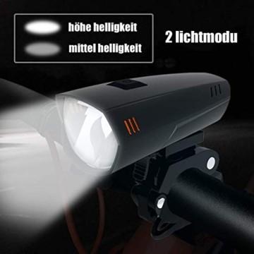 PUTARE LED Fahrradlicht Set,【Aktualisiert】 StVZO Zugelassen USB Wiederaufladbare Fahrradbeleuchtung Fahrradlampe Vorne/Rücklicht, IPX5 Wasserdicht Fahrradlichter mit 2 Licht-Modi - 5