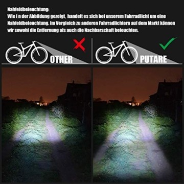 PUTARE LED Fahrradlicht Set,【Aktualisiert】 StVZO Zugelassen USB Wiederaufladbare Fahrradbeleuchtung Fahrradlampe Vorne/Rücklicht, IPX5 Wasserdicht Fahrradlichter mit 2 Licht-Modi - 6