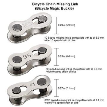 QKURT Fahrradkette Zange + Fahrrad Ketten Prüfer + 6 Paare Fahrrad Fehlt Link, Kettentrenner Fahrrad Fahrrad Fehlt Link für 6, 7, 8 Geschwindigkeits Kette| Professionell Fahrradkette Reparatur Set - 4