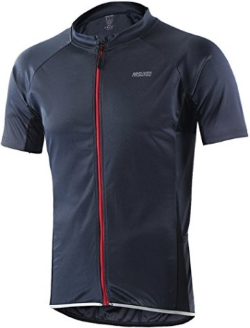 Radtrikot Kurzarm Herren Atmungsaktiv Fahrrad Trikot Full Reißverschluss Schnell Trocken Radsport MTB Fitness Jersey (EU L (Tag XL), Schwarz) - 2