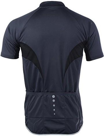 Radtrikot Kurzarm Herren Atmungsaktiv Fahrrad Trikot Full Reißverschluss Schnell Trocken Radsport MTB Fitness Jersey (EU L (Tag XL), Schwarz) - 5