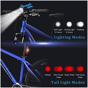 RaMokey 4 in 1 Fahrradlicht, USB Wiederaufladbare Fahrradbeleuchtung Set, Wasserdicht Fahrradlicht Vorne Rücklicht Set, 600 Lumen, 3 Licht-Modi, Handyhalter, Lautsprecher, Mobilstrom (4000mAh) (Blau) - 2