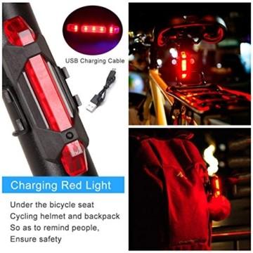 RaMokey 4 in 1 Fahrradlicht, USB Wiederaufladbare Fahrradbeleuchtung Set, Wasserdicht Fahrradlicht Vorne Rücklicht Set, 600 Lumen, 3 Licht-Modi, Handyhalter, Lautsprecher, Mobilstrom (4000mAh) (Blau) - 3