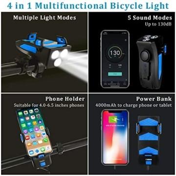 RaMokey 4 in 1 Fahrradlicht, USB Wiederaufladbare Fahrradbeleuchtung Set, Wasserdicht Fahrradlicht Vorne Rücklicht Set, 600 Lumen, 3 Licht-Modi, Handyhalter, Lautsprecher, Mobilstrom (4000mAh) (Blau) - 4