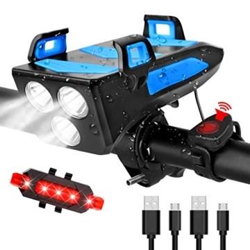 RaMokey 4 in 1 Fahrradlicht, USB Wiederaufladbare Fahrradbeleuchtung Set, Wasserdicht Fahrradlicht Vorne Rücklicht Set, 600 Lumen, 3 Licht-Modi, Handyhalter, Lautsprecher, Mobilstrom (4000mAh) (Blau) - 1
