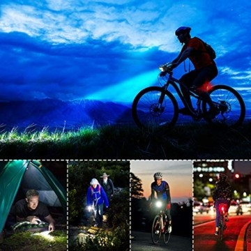RaMokey 4 in 1 Fahrradlicht, USB Wiederaufladbare Fahrradbeleuchtung Set, Wasserdicht Fahrradlicht Vorne Rücklicht Set, 600 Lumen, 3 Licht-Modi, Handyhalter, Lautsprecher, Mobilstrom (4000mAh) (Blau) - 5