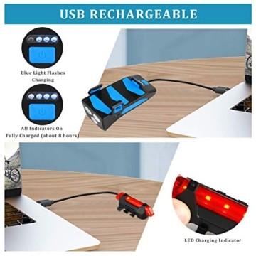 RaMokey 4 in 1 Fahrradlicht, USB Wiederaufladbare Fahrradbeleuchtung Set, Wasserdicht Fahrradlicht Vorne Rücklicht Set, 600 Lumen, 3 Licht-Modi, Handyhalter, Lautsprecher, Mobilstrom (4000mAh) (Blau) - 6