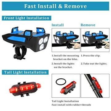 RaMokey 4 in 1 Fahrradlicht, USB Wiederaufladbare Fahrradbeleuchtung Set, Wasserdicht Fahrradlicht Vorne Rücklicht Set, 600 Lumen, 3 Licht-Modi, Handyhalter, Lautsprecher, Mobilstrom (4000mAh) (Blau) - 7
