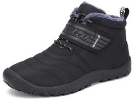 SAGUARO® Herren Damen Winterschuhe Warm Gefüttert Winter Stiefel Kurz Schnür Boots Schneestiefel Outdoor Freizeit Schuhe (46 EU, Upgraded Schwarz) - 1