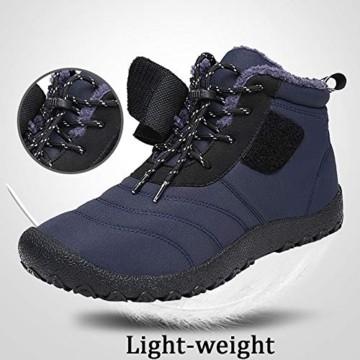 SAGUARO® Herren Damen Winterschuhe Warm Gefüttert Winter Stiefel Kurz Schnür Boots Schneestiefel Outdoor Freizeit Schuhe (46 EU, Upgraded Schwarz) - 4