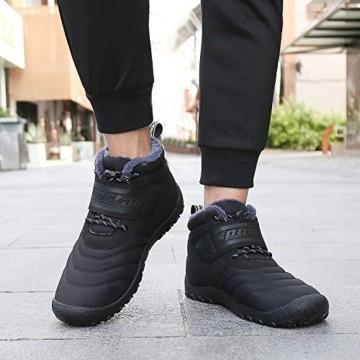 SAGUARO® Herren Damen Winterschuhe Warm Gefüttert Winter Stiefel Kurz Schnür Boots Schneestiefel Outdoor Freizeit Schuhe (46 EU, Upgraded Schwarz) - 6