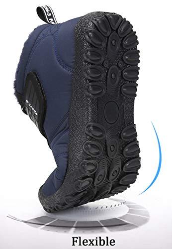 SAGUARO® Herren Damen Winterschuhe Warm Gefüttert Winter Stiefel Kurz Schnür Boots Schneestiefel Outdoor Freizeit Schuhe (46 EU, Upgraded Schwarz) - 7