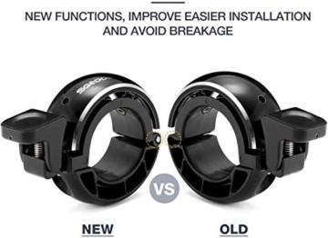 SGODDE Fahrradklingel,O Design Fahrradglocke Laut, Mini Aluminiumlegierung Innovative Fahrrad Ring Q Bell Radfahren Fahrrad Klingel Glocke MTB Mountainbike Alarm Horn Ring, für 22.2-24mm Lenker - 6