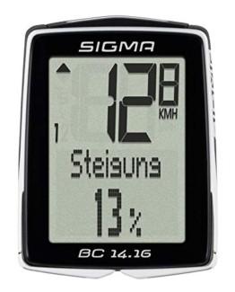 Sigma Sport Fahrrad Computer BC 14.16, 14 Funktionen, Höhenmessung, Kabelgebundener Fahrradtacho, Schwarz - 1