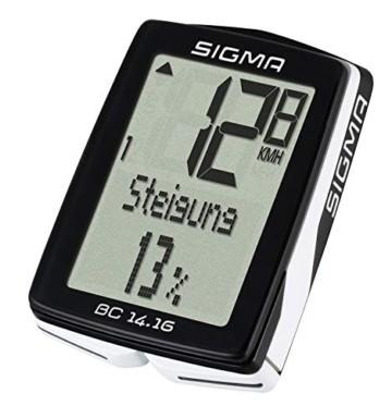 Sigma Sport Fahrrad Computer BC 14.16, 14 Funktionen, Höhenmessung, Kabelgebundener Fahrradtacho, Schwarz - 4