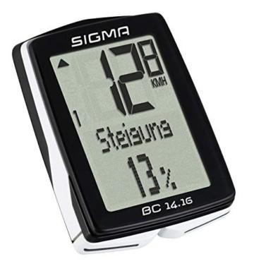 Sigma Sport Fahrrad Computer BC 14.16, 14 Funktionen, Höhenmessung, Kabelgebundener Fahrradtacho, Schwarz - 5