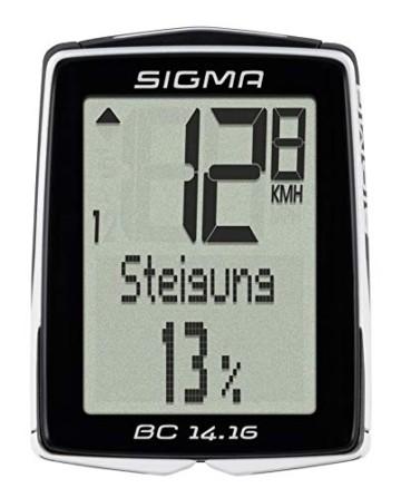 Sigma Sport Fahrrad Computer BC 14.16 STS, 14 Funktionen, Höhenmessung, Kabelloser Farradtacho, Schwarz - 1