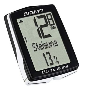 Sigma Sport Fahrrad Computer BC 14.16 STS, 14 Funktionen, Höhenmessung, Kabelloser Farradtacho, Schwarz - 5