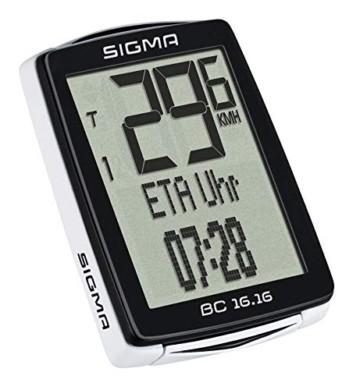Sigma Sport Fahrrad Computer BC 16.16, 16 Funktionen, Ankunftszeit, Fahrradtacho mit Kabel, wasserdicht - 2