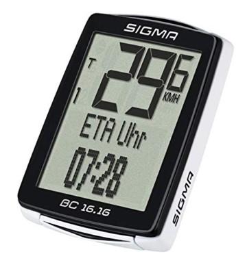 Sigma Sport Fahrrad Computer BC 16.16, 16 Funktionen, Ankunftszeit, Fahrradtacho mit Kabel, wasserdicht - 4