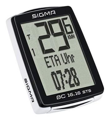 Sigma Sport Fahrrad Computer BC 16.16 STS, 16 Funktionen, Ankunftsanzeige, Kabelloser Fahrradtacho, Schwarz - 2