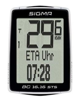 Sigma Sport Fahrrad Computer BC 16.16 STS, 16 Funktionen, Ankunftsanzeige, Kabelloser Fahrradtacho, Schwarz - 1