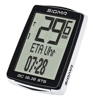 Sigma Sport Fahrrad Computer BC 16.16 STS, 16 Funktionen, Ankunftsanzeige, Kabelloser Fahrradtacho, Schwarz - 4